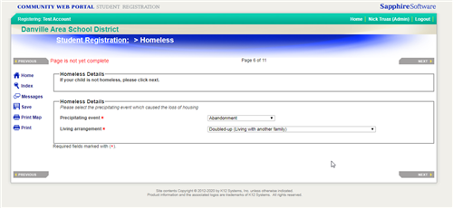Homeless conditional Screen